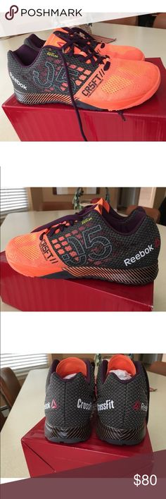 new style fa843 2db3c Reebok Crossfit Nano Sneakers Bright orange sneakers with dark purple, dark  gray and black accents! These shoes are light, comfortable and great for  weight ...
