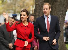 Prince William, Duke of Cambridge and Catherine, Duchess of Cambridge wave to the crowds during the countdown to the 2015 ICC Cricket World Cup at Latimer Square on April 14, 2014 in Christchurch, New Zealand.