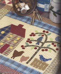 Like the tree Art Quilting, Quilting Projects, Art Projects, Primitive Quilts, Primitive Crafts, House Quilts, Barn Quilts, Scrappy Quilts, Mini Quilts