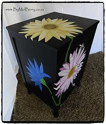 Charcoal floral upcycled antique bedside cabinet