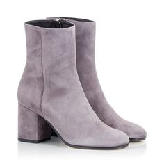Fratelli Karida - Grey suede leather mid heel booties ($350) ❤ liked on Polyvore featuring shoes, boots, ankle booties, grey, grey suede bootie, suede ankle boots, grey ankle boots, short boots and gray boots