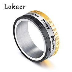 Lokaer Stainless Steel Men Spinner Ring Date Number & Roman Numeral