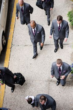 Maryland Zoo Wedding — East Made Event Company and Meghan Rose Photography. Purple ties grey suits groomsmen Baltimore.