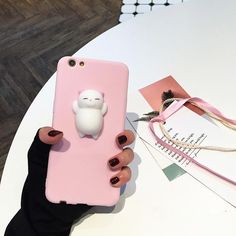 Soft Silicone Kawaii Cat Squishy Fidget Toys Aimal Mobile Phone Cover Squeeze Vents Toy Antistress Cat iPhone Case 2017 Hot Sale