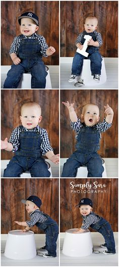 1 Year Old Boy Photo Shoot Ideas & Poses - Indoor Session - Wooden Backdrop - Baseball Cap - Overalls - Checkered Shirt - Billings, MT Child & Portrait Photographer
