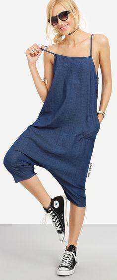 Buttoned Drop Crotch Blue Denim Overall Pants