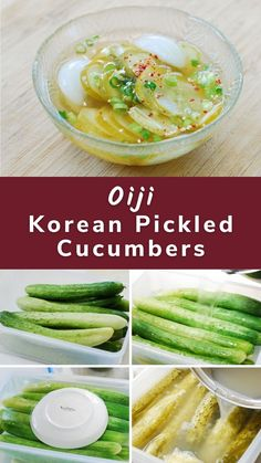 Oiji (오이지), Korean cucumber pickles, is fermented simply in salt water. Korean cucumbers are light in color, slender, and bumpy with thin skin. Vietnamese Recipes, Thai Recipes, Asian Recipes, Korean Food, Chinese Food, Japanese Food, Korean Pickled Cucumber, Pickling Cucumbers, Potluck Recipes