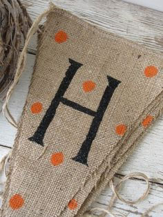 HALLOWEEN Glitter Burlap Banner Pennant Bunting. $36.00, via Etsy.But these could easily be hand made and put Happy Fall.