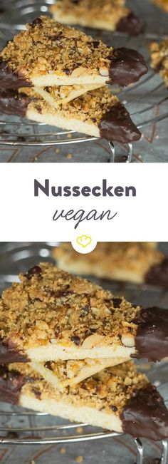 Kerniger Klassiker goes vegan! Nussecken Feasting with a clear conscience: nut corners can of course also be baked without animal products. Fancy the original? So you make Nussecken, as otherwise only makes Guildo Horns Mama Lotti. Avocado Dessert, Coconut Dessert, Oreo Dessert, Desserts Végétaliens, Desserts Sains, Healthy Desserts, Dessert Recipes, Bolo Vegan, Cake Vegan