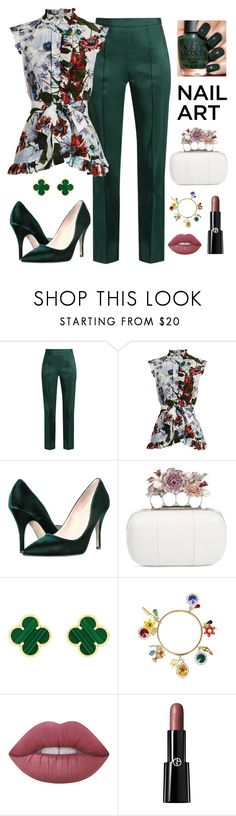 """""""Untitled #431"""" by maylamartha ❤ liked on Polyvore featuring beauty, Rosie Assoulin, Erdem, Kate Spade, Alexander McQueen, Van Cleef & Arpels, Dolce&Gabbana, Lime Crime and Giorgio Armani"""