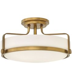 Hinkley 3643HB Harper 3 Light 18 inch Heritage Brass Semi-Flush Mount Ceiling Light in Incandescent, Etched Opal