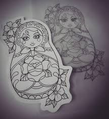 Image result for matryoshka tattoo flash