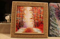 https://flic.kr/p/kVes9n   autumn glory   2016 West Michigan Colors of Community Award Winner ! Beautiful fall scene painted on stretched canvas using oils.  Painting measures 12 x 12 and as shown in frame appxo. 13.5 x 13.5.  Custom made frame is finished in a natural finish showing a lot of detail.  Comes papered and wired - ready for hanging.  $110.00