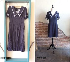 Adorable Nautical Dress Step by Step Upcycling Tutorial.  #upcycle #refashion #repurpose #vintage #diy #doityourself #sewing #handmade