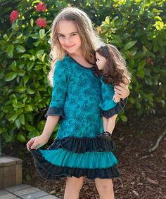 Lilli Lovebird Teal & Charcoal Peonies Nina Dress & Doll Dress - Girls | zulily