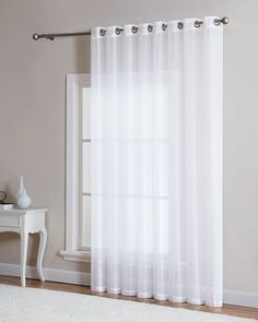 "LinenZone - Grommet Semi-Sheer - 1 Extra Wide Patio Curtain Panel - 102 Inch Wide - 84 Inch Long - Ideal for Sliding and Patio Doors - Natural Light Flow Material (Patio 102"" W x 84"" L, White)"