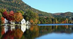 Fall foliage colors reflected in a Vermont lake. (From: Road Trip: Green Mountain Diner Drive)