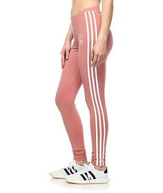 These peachy mauve leggings feature 3 stripes down the sides and an  embroidered adidas trefoil logo on the top of the ...