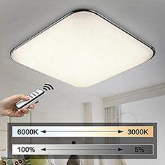 Gut Natsen® 54W Moderne LED Deckenleuchten Wohnzimmer Deckenlampe Fernbedienung  Voll Dimmbar Lampe (650mm*650mm