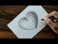 How to Draw Hole Heart Shape - Easy Trick Drawi.Heart on Line Paper - Trick Art DrawingNew Drawing Line Heart 16 Ideas How to Draw Blue Whale? Anamorphic illusion a Whale.Easy drawing for kids and adults. Drawing a stone heart with charcoal pencils. 3d Drawing Tutorial, Very Easy Drawing, Drawing Tutorials For Kids, Drawing For Beginners, Drawing For Kids, Art For Kids, Sketching For Kids, 3d Pencil Drawings, 3d Art Drawing