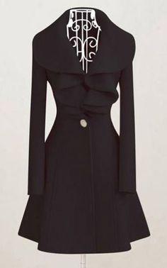 Elegant Black Long Sleeve Woolen Coats with Turndown Collar