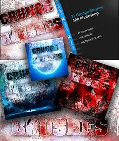 Grunge Photoshop Brushes Pack 1 21 original grunge artwork brushes created and tested in CC 2018
