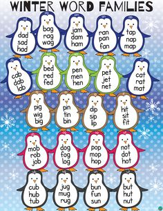 These cute penguins can be a great addition to your Winter reading activities. in X 11 in 17 in X 22 in Happy Teaching! Preschool Phonics, Fun Classroom Activities, Preschool Curriculum, Winter Activities, Homeschooling, Kindergarten Christmas, Kindergarten Literacy, Classroom Board, Classroom Fun