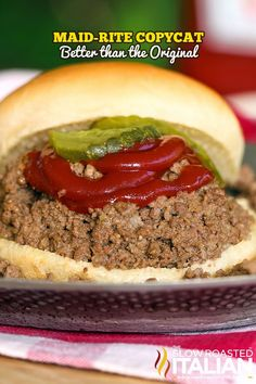 The classic Maid-Rite is a loose meat sandwich made with perfectly seasoned, tender slow-cooked ground beef served on a warm slightly sweetened bun. We have tried to replicate it for years and at long (Italian Sandwich Recipes) Soup And Sandwich, Sandwich Recipes, Meat Recipes, Crockpot Recipes, Slow Cooker Recipes, Cooking Recipes, Made Right Sandwich Recipe, Crockpot Meat, Dinner Recipes