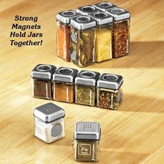 Magnetic spice holders...square to take up less  space than the round ones, and they all stick together.  Great for the RV!