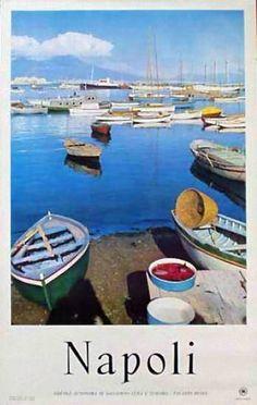 Napoli | Vintage travel poster | #Affiches #Carteles #Viajes #Retro #Europe | http://defharo.com