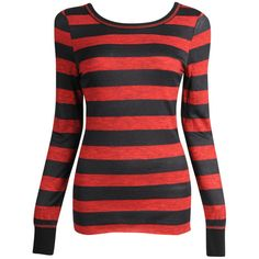 Stripe L/S Tee ($12) ❤ liked on Polyvore featuring tops, shirts, long sleeves, sweaters, basics & hoodies, red long sleeve shirt, stripe shirt, red top, striped top and red stripe top