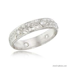 18K White Gold Diamond & Floral Design Hand Engraved Bridal Band in Wedding Bands