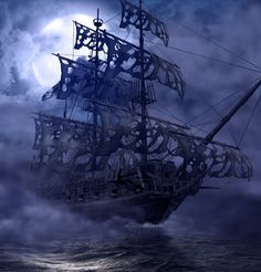 Sailing pirate ghost ship, Flying Dutchman, on the high seas in a moonlit night, render painting Stock Photo - 105795266 Pirate Boats, Pirate Art, Pirate Ships, Pirate Life, Pirate Ship Tattoos, Famous Pirates, Old Sailing Ships, Sea Of Thieves, Pirate Adventure