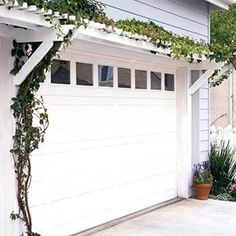 Trellis garage door - Morning Glories would be pretty.  And think about new garage door possibilities - insulation, looks, etc.