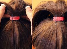 PROP YOUR PONYTAIL Want to add some oomph to a limp ponytail? Prop it up by inserting a couple of bobby pins vertically into the part of your elastic band beneath the ponytail. The pins will give your ponytail a boost, and the hair will hide the pins!