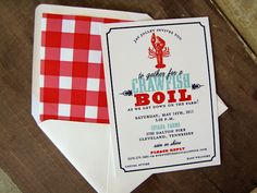 Love these Crawfish Boil invitations with the gingham liners!