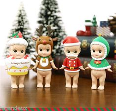 """2012 Christmas X-Mas Series 4EA SET Sonny Angel Mini Figure Toy Doll Gift Kid 