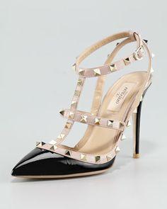 Rockstud Noir Patent Sandal, Black by Valentino at Neiman Marcus.