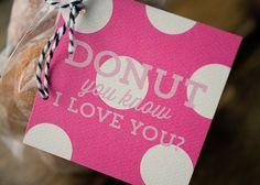 Pink Polka Dot Donut You Know I love you by KellyElliottCreative