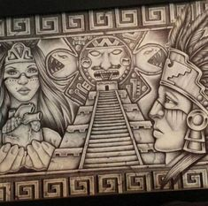 Chicano Tattoos, Chicano Drawings, Mayan Tattoos, Mexican Art Tattoos, Ear Tattoos, Indian Tattoos, Aztec Symbols, Mayan Symbols, Viking Symbols
