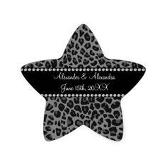 Grey leopard print wedding favors sticker