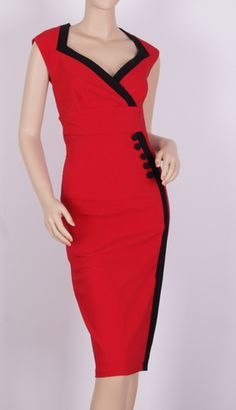 1950s red black pinup wiggle dress-7284E