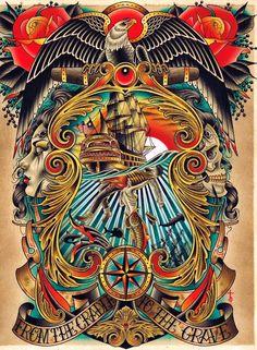 Cradle to the Grave by Tyler Bredeweg Mermaid Tattoo Canvas Art Print - Kunst - Tattoo Kunst Tattoos, Body Art Tattoos, Tattoo Drawings, Sleeve Tattoos, Marine Tattoos, Navy Tattoos, Traditional Tattoo Design, Traditional Tattoo Flash, Sailor Jerry