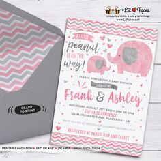 Pink and grey Elephant Baby Shower invitation - Personalized Invite card DIY party printables will save you time and money while making your planning a snap!
