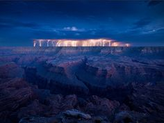 Grand Canyon lightning time exposure