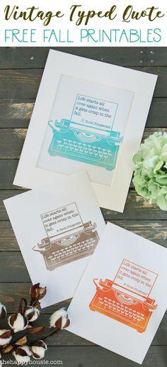 Vintage Typewriter Free Fall Printables - The Happy Housie