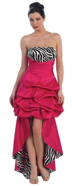 Black And Hot Pink Column Sheath Halter Brush Train Zebra Prom
