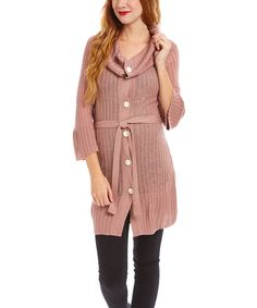 Look at this Mauve Ribbed Wool-Blend Duster on #zulily today!