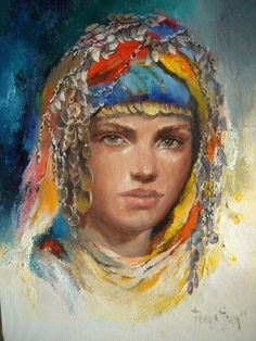 (Turkey) Anatolia headband by Remzi Iren ). Abstract Portrait, Oil Painting Abstract, Woman Painting, Watercolor Art, Painter Artist, Historical Art, Art Academy, Pastel Drawing, Indian Paintings