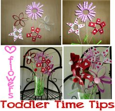 Valentine flowers!!! Toilet paper rolls  for more pictures: https://www.facebook.com/toddlertimetips